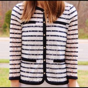 Ann Taylor Lace Striped Navy and White Cardigan